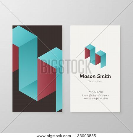 Business card isometric letter M vector template. Vector business card design as sign letter M. Letter M business card template. Business card visual design letter M.
