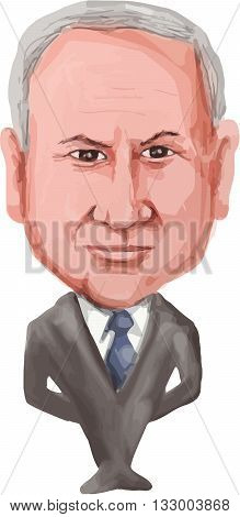 JUN 6, 2016:  Water color caricature illustration of the 9th Prime Minister of Israel Benjamin Netanyahu facing front done in cartoon style.