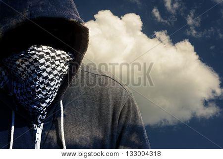 Masked Computer Hacker Thief Concept