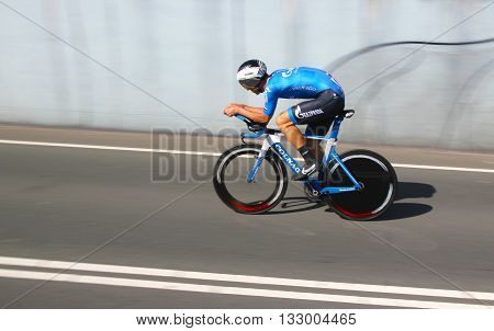 APELDOORN, NETHERLANDS-MAY 6 2016: Alexander Serov of pro cycling team Gazprom-RusVelo during the Giro d'Italia prologue time trial.