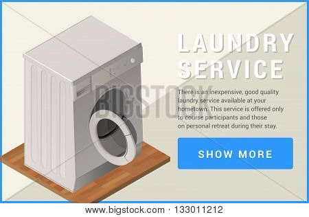 washing machine isometric flat vector 3d illustration
