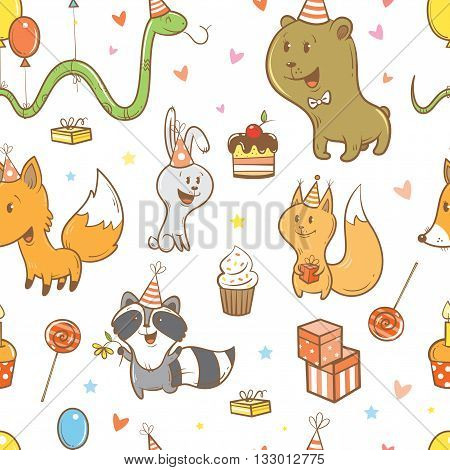 Seamless pattern with cute cartoon foxes, hares, squirrels, snake, raccoons  and bears on  white  background. Funny forest animals. Birthday gifts, balloons, sweets and party hats. Children's illustration. Vector image.