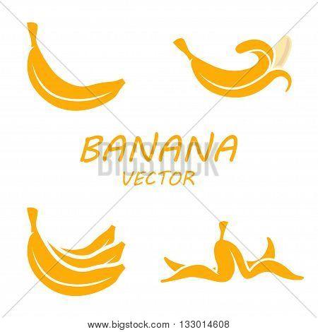 Vector flat banana icons set on white background