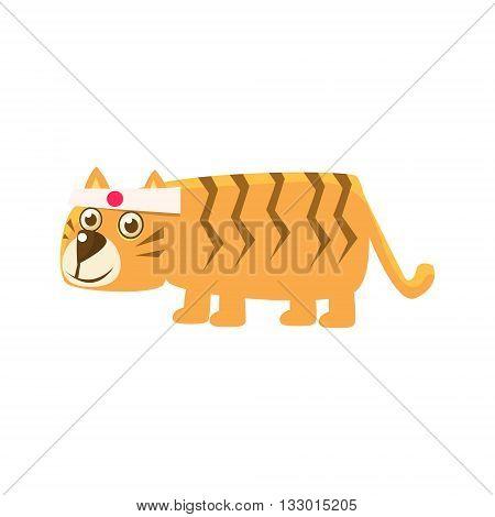 Tiger Wearing Japanese Headband Illustration. Funny Childish Vector Tiger Drawing. Flat Isolated Cartoon Animal Icon.