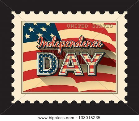 USA Independence day - postage stamp with American flag background. Isolated on black.