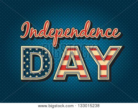 USA Independence day - stylized lettering with American flag colors.