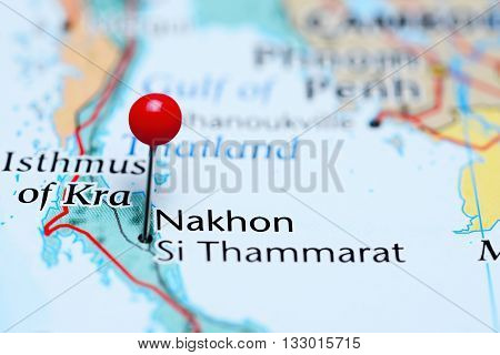 Nakhon Si Thammarat pinned on a map of Thailand