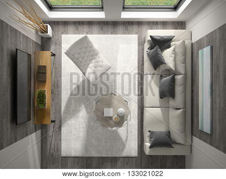 Interior of modern design room top view 3D rendering