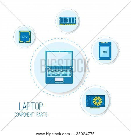 Computer icons. Laptop components parts. Vector illustration