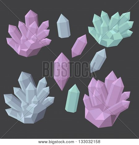 Colorful shiny bright crystals.  Polygon stone mineral and poly  shape rocks. Emerald crystal, ruby crystal, tourmaline crystal, quartz crystal, diamond crystal isolated.