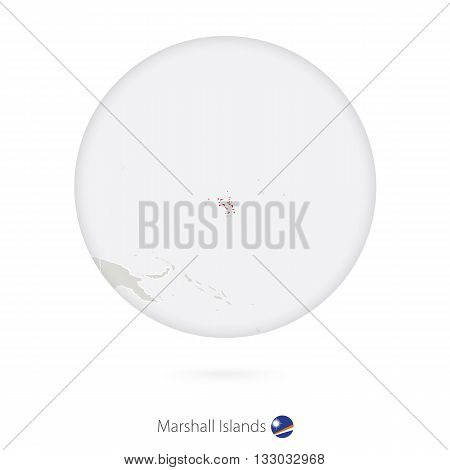 Map Of Marshall Islands And National Flag In A Circle.