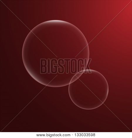 Set of two vector bubbles. Poster wallpaper. Bubble circles in the red background. Modern shiny orbs.