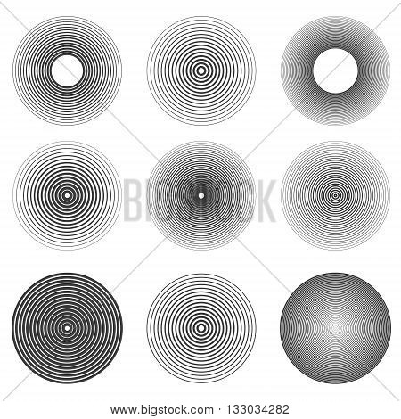 Set of sound waves rings abstract icons. Design elements in vector.