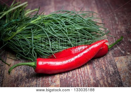 Agretti And Chili Peppers
