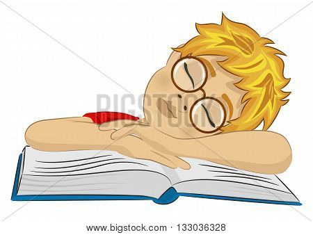 Teenager boy with glasses fallen asleep on his book on white background