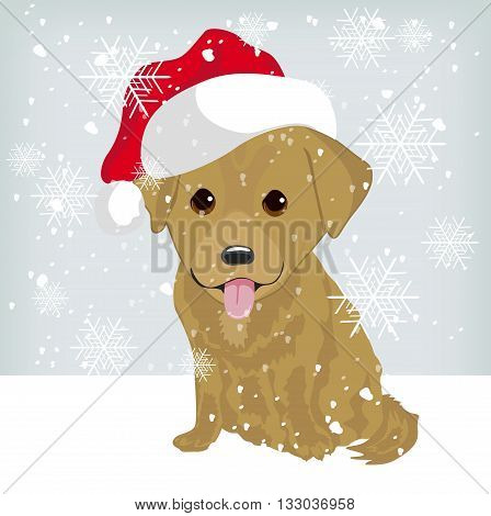Cute labrador puppy in a Santa Claus hat sitting on snow