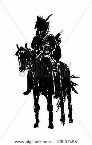 drawing silhouette of American Indian riding a horse, sketch hand drawn graphic vector illustration