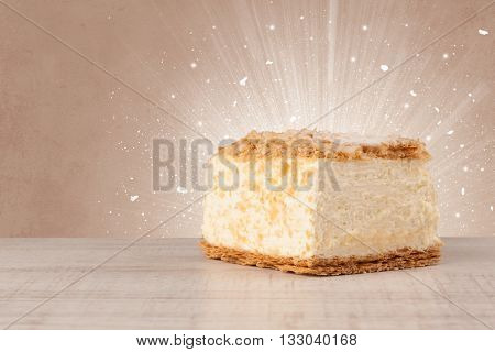 Sparkling tasteful home made sugar cake with colorful background