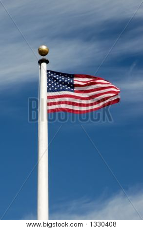 American Flag Whipping In The Wind
