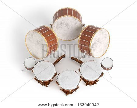 Orchestra drums isolated on white background 3D rendering