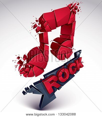 Red 3D Vector Shattered Musical Note With Specks And Refractions. Dimensional Facet Design Music Dem