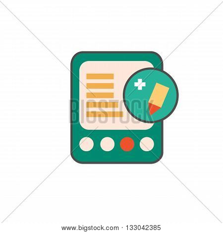E-book with edit sign line icon. Vector illustration of electronic book reader with pencil