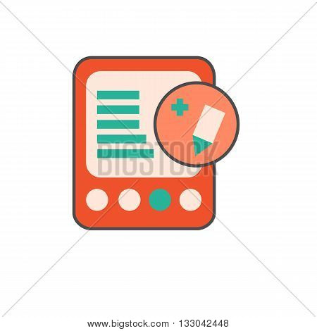 E-book with pencil in circle icon. Vector illustration of electronic book reader with edit sign