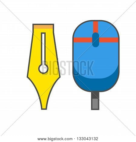 Nib and computer mouse line icon. Colored illustration of computer mouse and ink pen nib