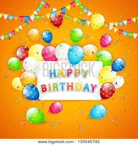 Birthday background, the inscription Happy Birthday with flying colorful balloons, multicolored pennants and confetti on orange background, Happy Birthday theme, illustration.
