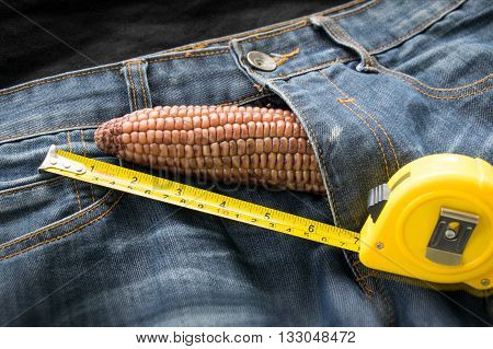 Penis Symbol - Corn And Measuring Tape On Jeans