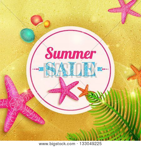 Summer sale. Summer background with starfishes and palm leaves on sand. Vector