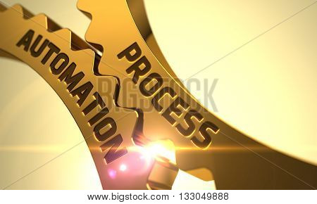 Process Automation on the Mechanism of Golden Metallic Cogwheels. Process Automation on Mechanism of Golden Cogwheels with Lens Flare. Process Automation on Golden Metallic Gears. 3D.