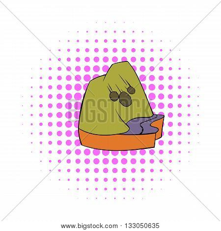 Rockfall icon in comics style on a white background
