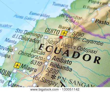 Map with focus set on Quito, Ecuador.