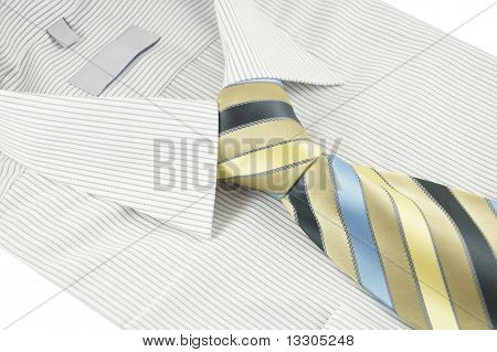 New Shirt With Striped Necktie Over White