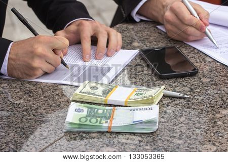 Business Concept, Money And Papers For Sign