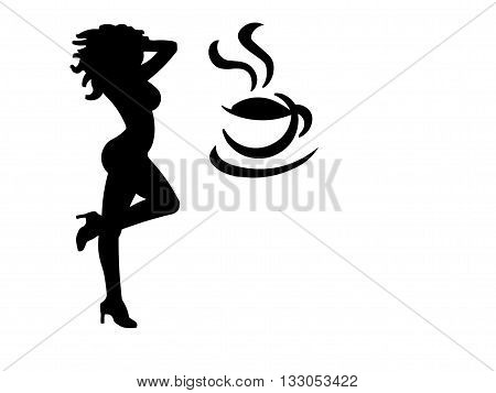 An illustration of a woman in high heels and a buxom figure dancing with a coffee cup. (Isolated to a white background with negative space.)