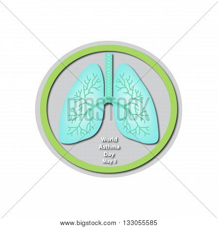 World Asthma Day - May 3. Lungs. Baner. Infographics. Vector illustration on isolated background.