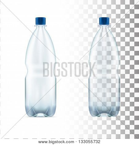 vector blank plastic blue water bottle transparent eps10 vector