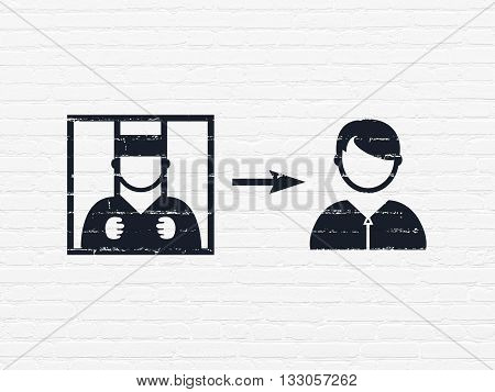 Law concept: Painted black Criminal Freed icon on White Brick wall background