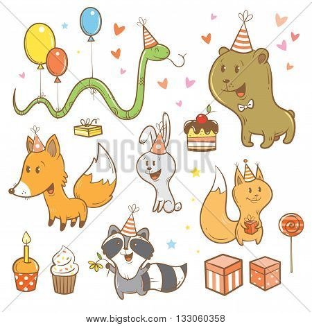 Cartoon birthday set. Funny forest animals. Cute fox, bear, hare, raccoon, snake and squirrel. Children's illustration. Vector image.