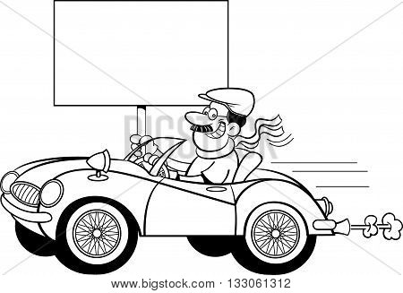 Black and white illustration of a man in a sports car holding a sign.