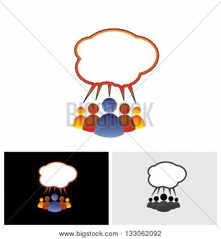 Colorful Vector Icon Of People Chatting, Talking, Communicating