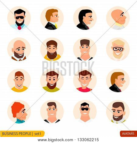Set avatars businessmen in the face and full face in the style of cartoons and flat icons set people.
