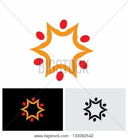 Team And Teamwork Of Group Of Employees In Star Shape - Vector Logo Icon