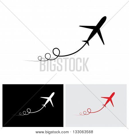 Vector Icon Of Airplane Take Off Showing Its Path & Speeding Up