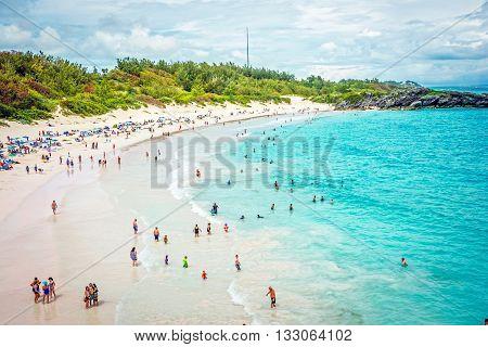 HORSESHOE BAY BERMUDA - MAY 26 - A panoramic view of Horseshoe Bay Beach on May 26 2016 in Southampton Parish Bermuda.