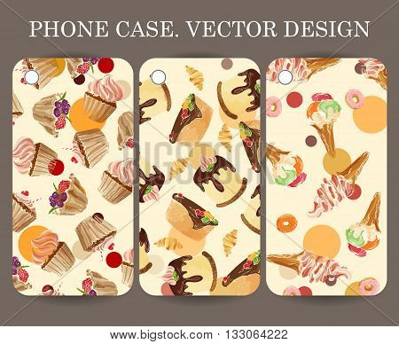 Food design phone case caver. Decorative hand drawn dessert backgrounds for your gadget poster