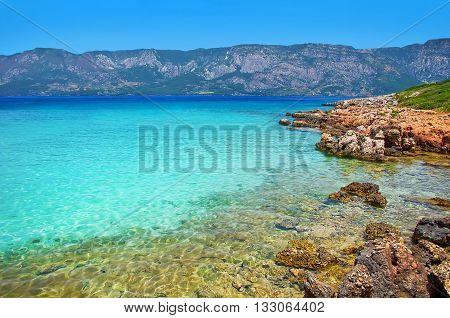 Marmaris Beach Beautiful Blue Sea On Mountains Background