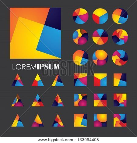Colorful Abstract Unusual Shapes Vector Logo Icons Of Design Elements